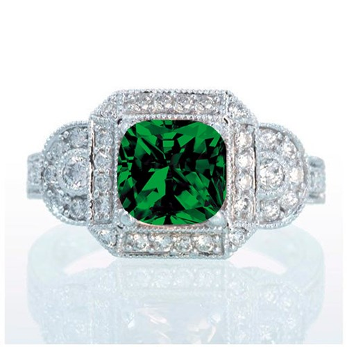 Vintage Princess Cut Emerald and Diamond Halo Ring