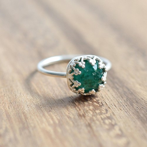Sterling Silver Rose Cut Emerald Ring