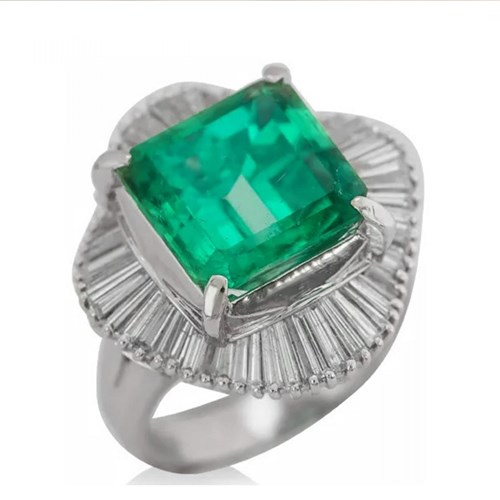 Platinum Square Cut Emerald Ring