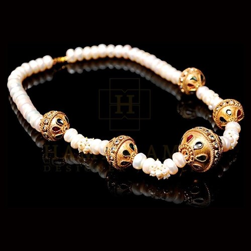 Gold Ball Maala With Real Pearls
