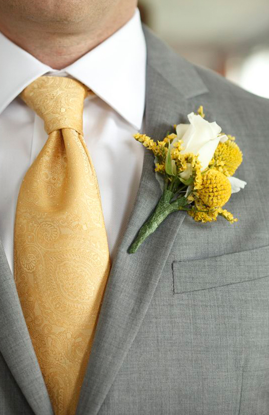 3.	Grey and Yellow Groom Tuxedo