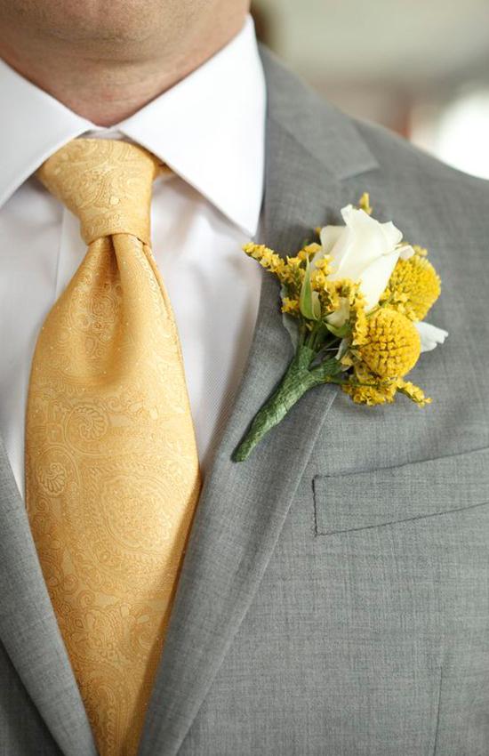 3.Grey and Yellow Groom Tuxedo