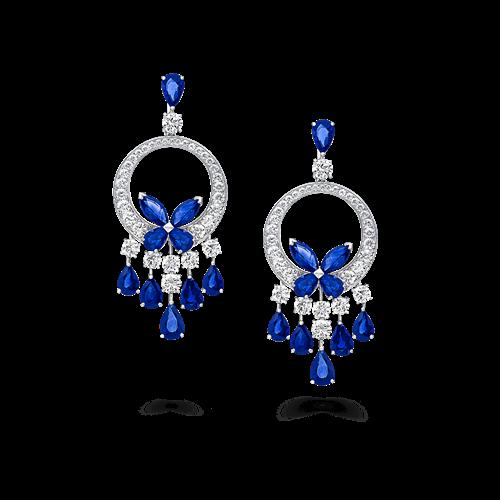 Sapphire and Diamond Butterfly Chandelier Earrings