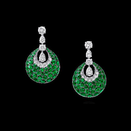 Emerald and Diamond Bombe Earrings