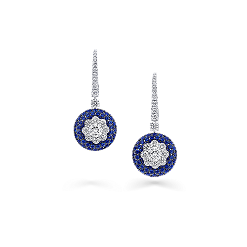 Sapphire and Diamond Bombe Halo Cluster Earrings