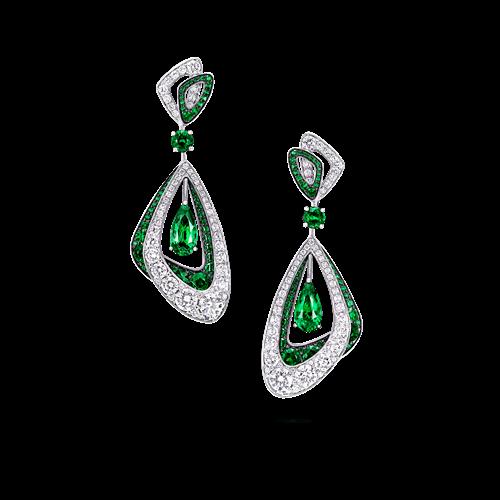 Emerald and Diamond Luna Duo Earrings