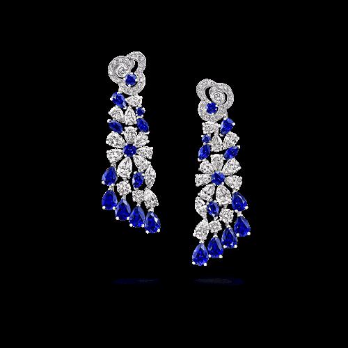 Sapphire and Diamond Nuage Cascade Earrings