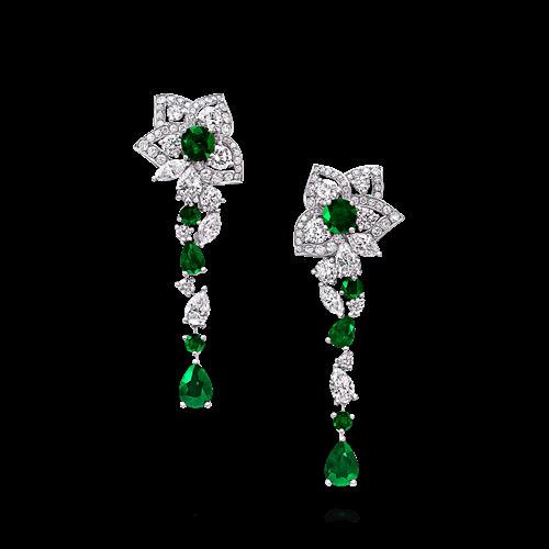 Emerald and Diamond Peony Flower Drop Earrings