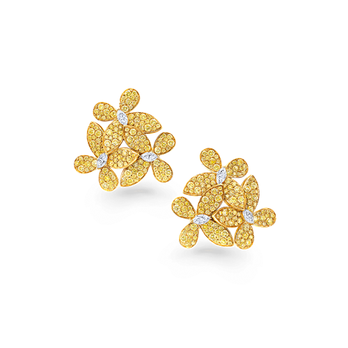 Yellow and White Diamond Triple Pave Butterfly Earrings