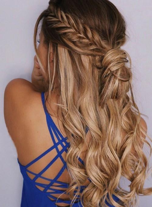 Half up Fish Braided Curls