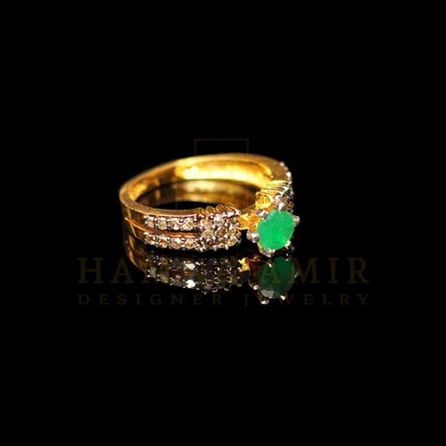Emerald Diamond Polki Ring