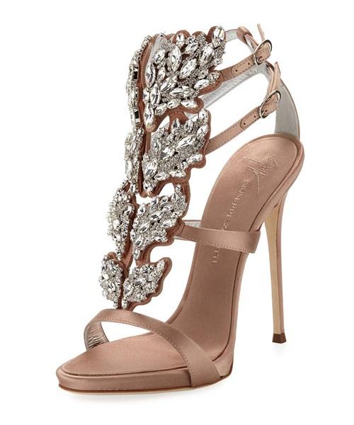 Giuseppe Zanotti Satin Wing Jeweled Sandals