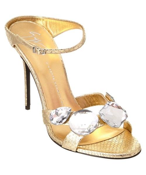 Giuseppe Zanotti Jeweled Leather Heeled Sandal