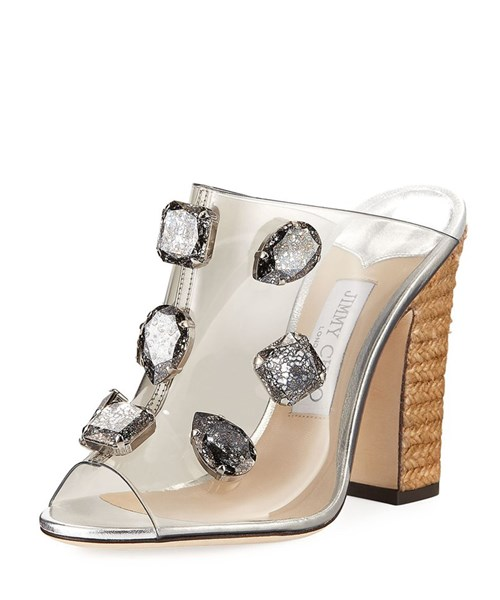 Clear Plexi Mules with Jewels and Rope Wedge