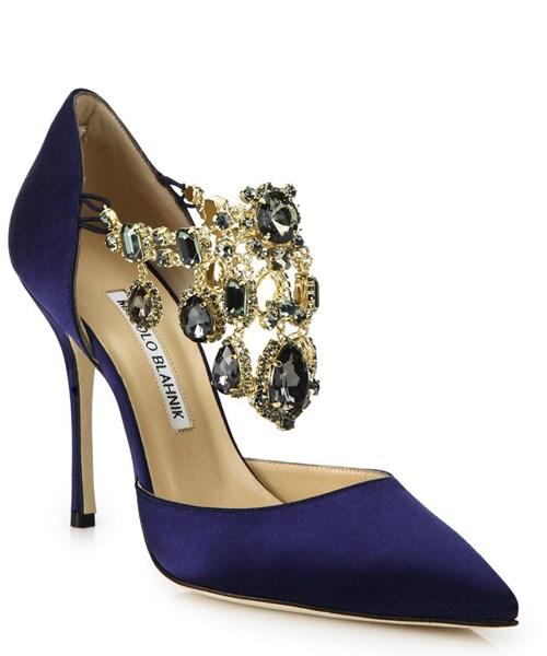 Metallic Zullin Satin Jeweled D'orsay Pumps