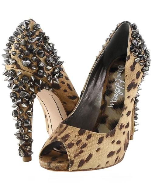 Sam Edelman Leopard Lorissa Canvas Jeweled Heels