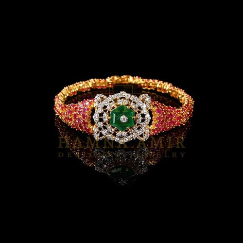 Ruby Emerald And Zircon Bracelet by Hamna Amir