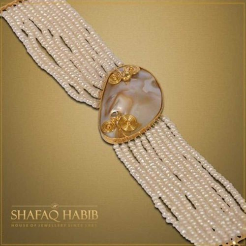 White Mother of Pearls with Gold by Shafaq Habib