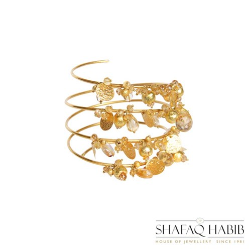 Gold Charm Bangle by Shafaq Habib