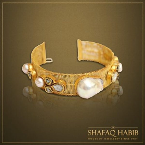 Gold Mesh Bangle with Polki diamonds and Japanese-pearls by Shafaq Habib