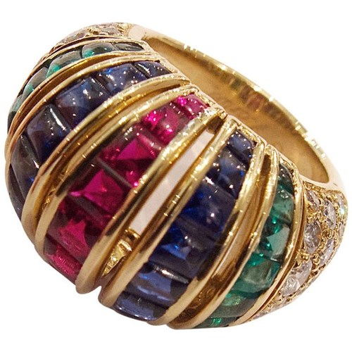 Cartier Paris Precious Gem Diamond Gold Turban Ring