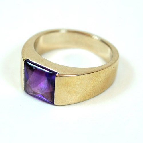 White Gold and Amethyst Cartier Tank Solitaire Ring
