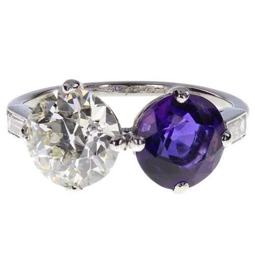 Cartier Amethyst Diamond Platinum Two-Stone Ring