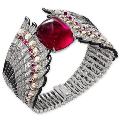 White Gold, Ruby, Onyx, Rock Crystal, And Diamonds Bracelet