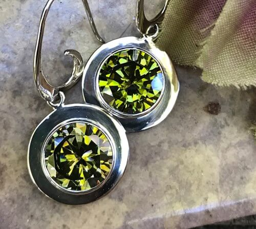 Extra Sparkly Peridot Green Swarovski Crystal Earrings