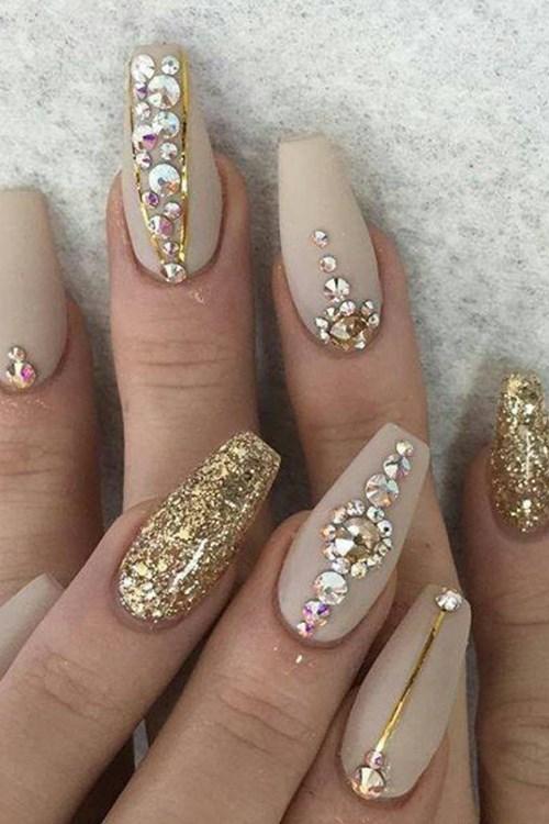 Glittery, Beaded Nail Art