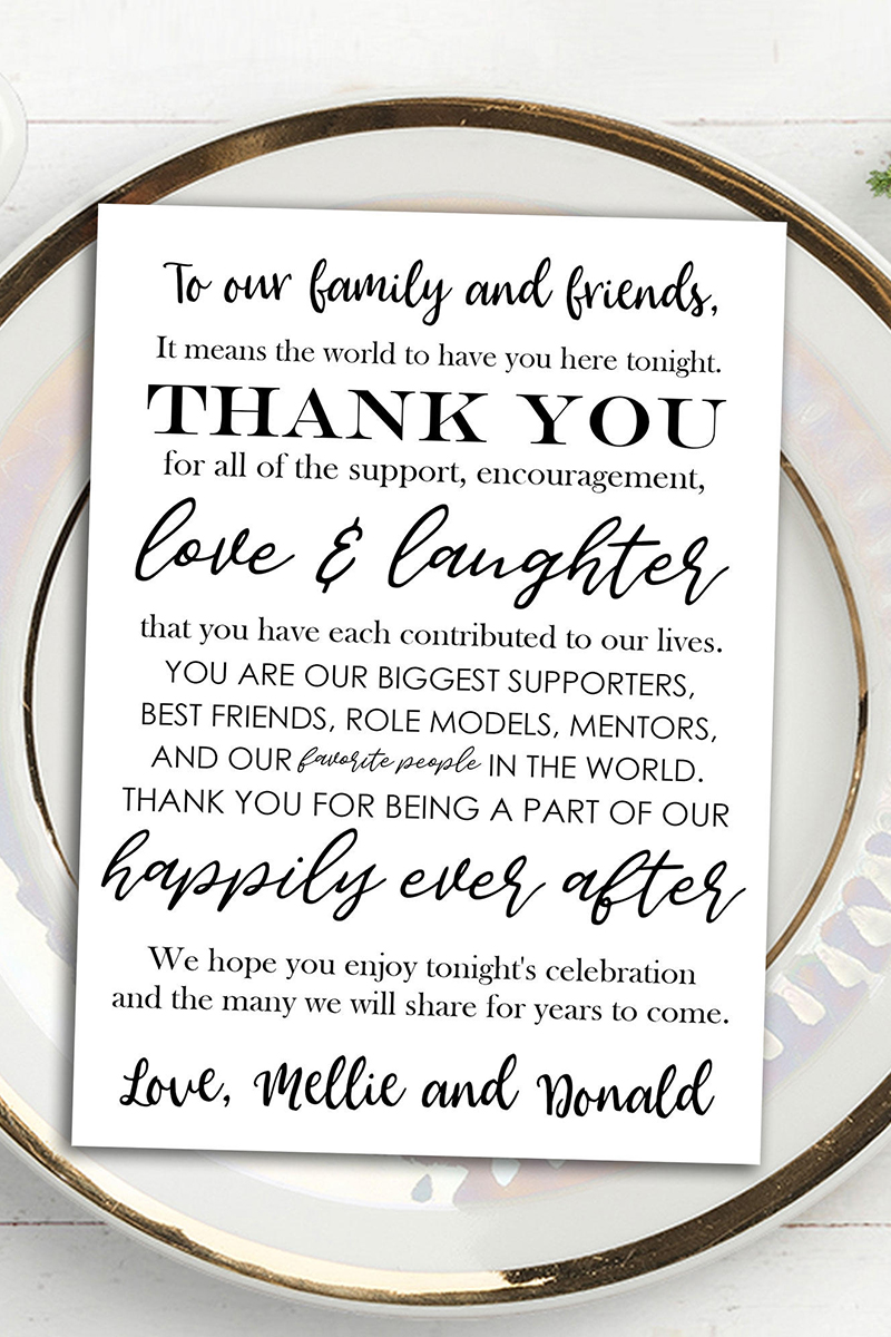 9.Personalized Thank You Cards on Each Table: