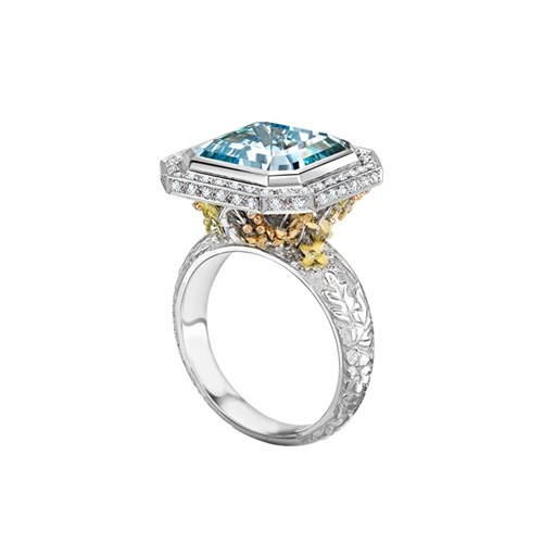 Aquamarine Pave Diamond Ring by Theo Fennell