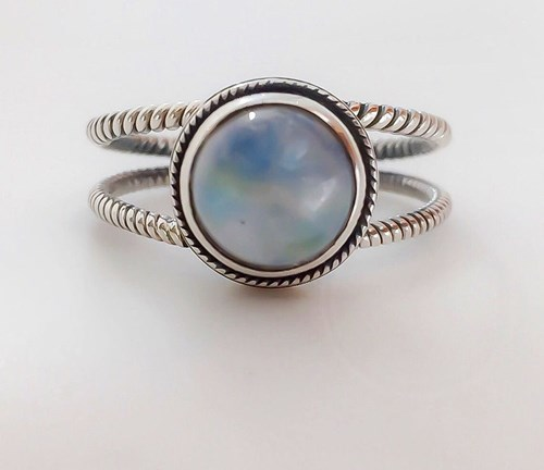Sterling Silver Opal Rope Ring ($130)