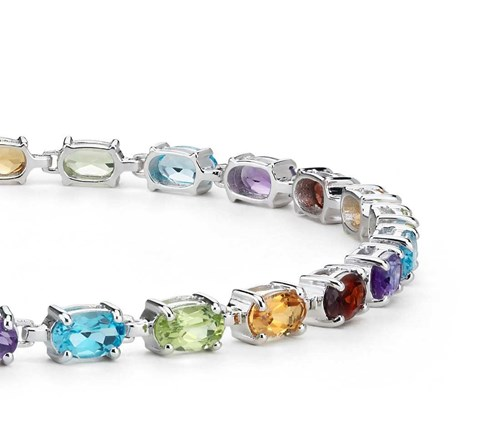 Sterling Silver Oval Multicolor Gemstone Bracelet ($125)