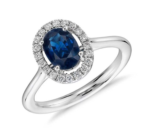 White Gold Sapphire and Micropavé Diamond Halo Ring ($2630)