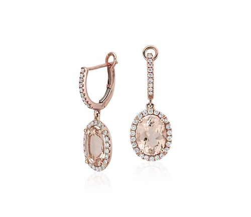 Rose Gold Morganite and Diamond Drop Earrings (1950)