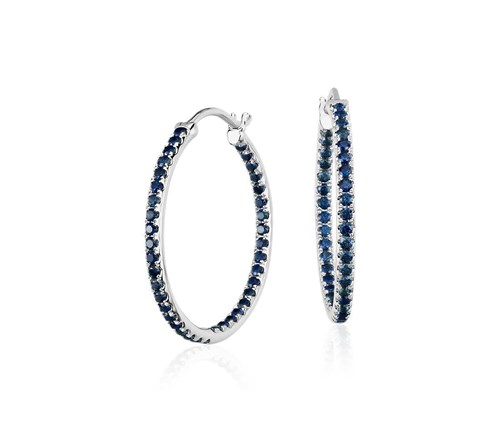 White Gold Riviera Sapphire Hoop Earrings ($980)