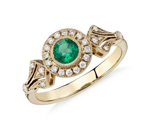 Yellow Gold Emerald and Diamond Halo Ring ($1090)