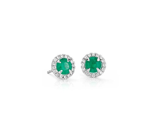 White Gold Emerald and Micropavé Diamond Stud Earrings ($2100)