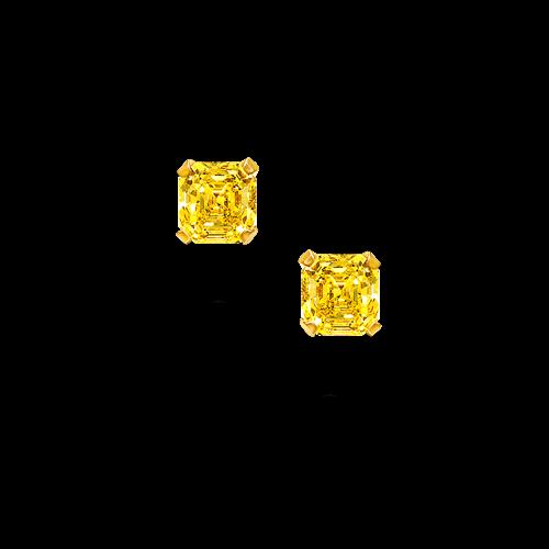 Yellow Diamond Square Emerald Cut Diamond Stud Earring