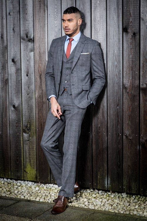 The Fellini Tailored Grey Check Tailored Fit Three Piece Suit by Slaters
