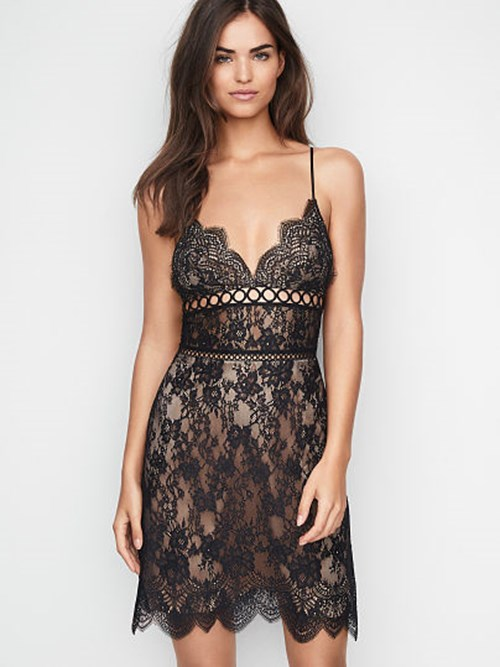 Dream Angels Floral Lace and Rings Slip Dress