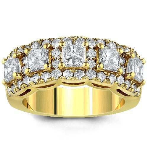 14K Yellow Solid Gold Women's Diamond Wedding Ring Band