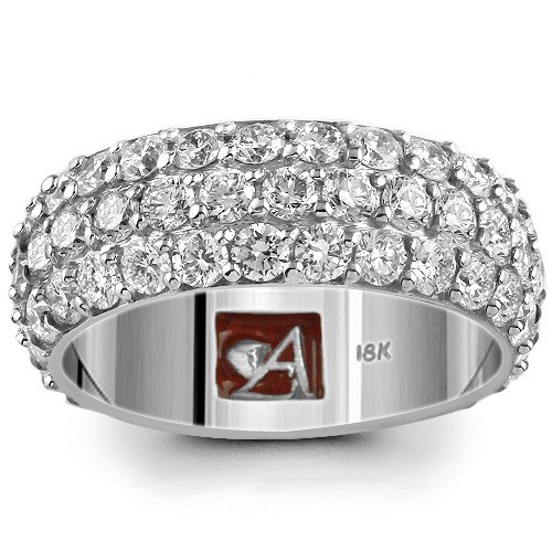 18K Solid White Gold Diamond Women's Wedding Ring Band