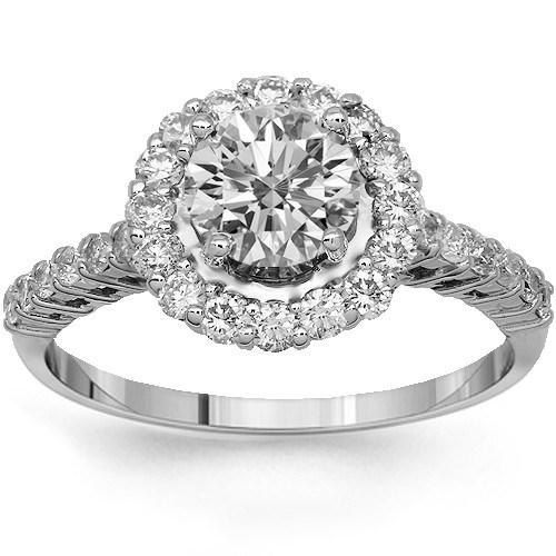 14K Solid White Gold Diamond Women's Engagement Ring