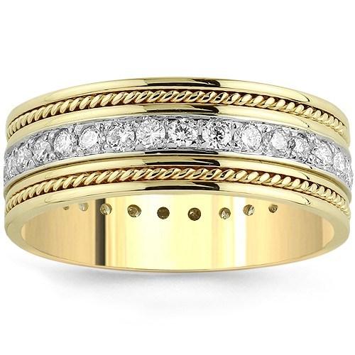 14K Yellow Solid Gold Men's Diamond Eternity Ring Band