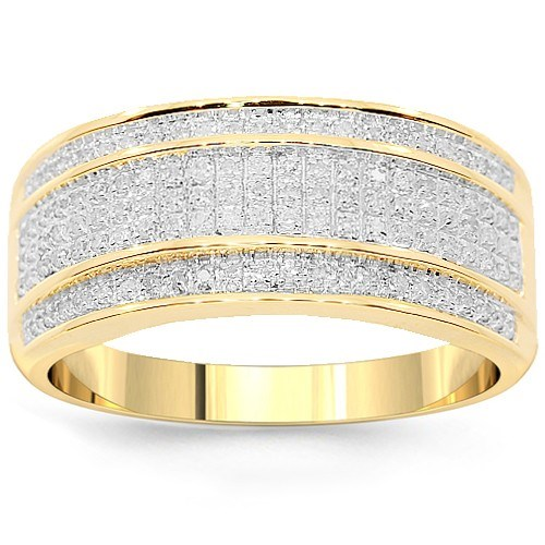 10K Yellow Solid Gold Men's Diamond Wedding Ring Band