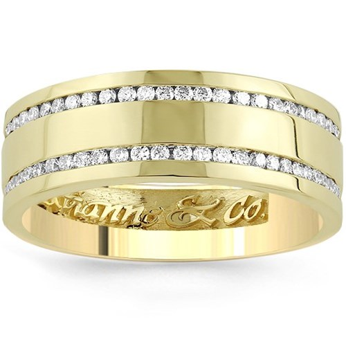 14K Yellow Solid Gold Men's Eternity Ring Band With Two Rows Of Diamonds