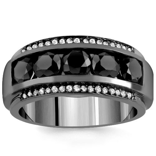14K Solid Gold Black Rhodium Plated Men's Diamond Ring with White and Black Diamonds