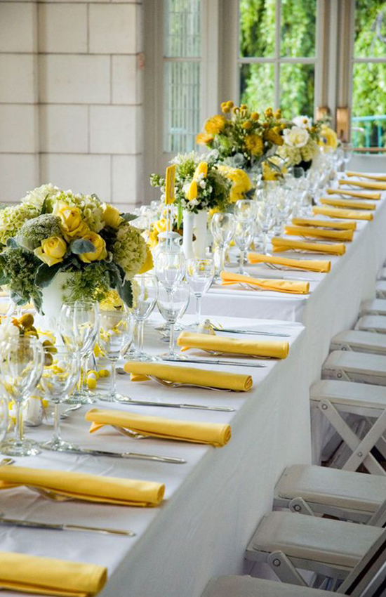 17.	Yellow Napkins for a Lively Touch